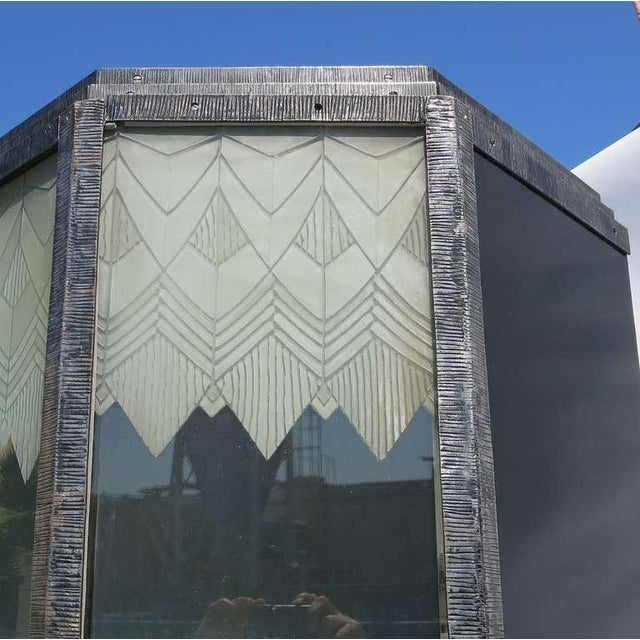 Metal Art Deco Showcase With Lalique Glass Doors For Sale - Image 7 of 11