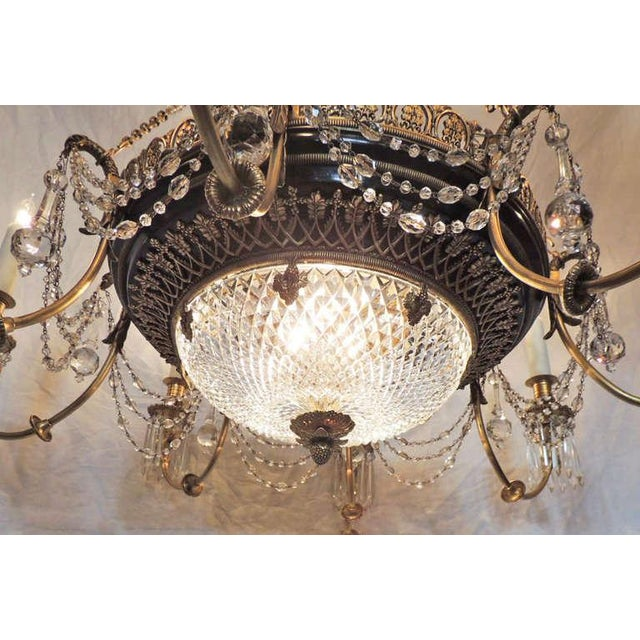 Late 19th C French Empire Bronze and Crystal Chandelier For Sale - Image 10 of 10
