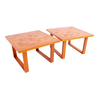 Poul Cadovius for Cado Danish Mid Century Teak Chess Board Side End Tables - Pair For Sale