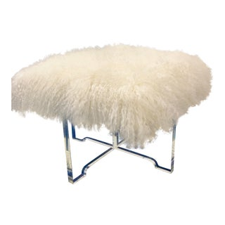 Jonathan Adler Mongolian Lamb Ottoman in White With Lucite Base For Sale
