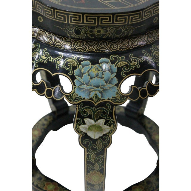 Chinoiserie Black Lacquer Stools - A Pair - Image 3 of 4