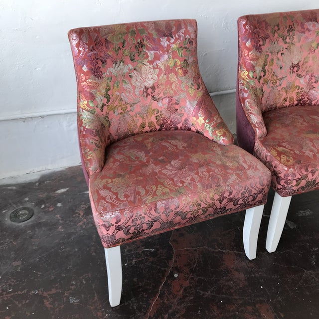Vintage Pink & Rainbow Upholstered Vanity Chairs - a Pair For Sale In Los Angeles - Image 6 of 8