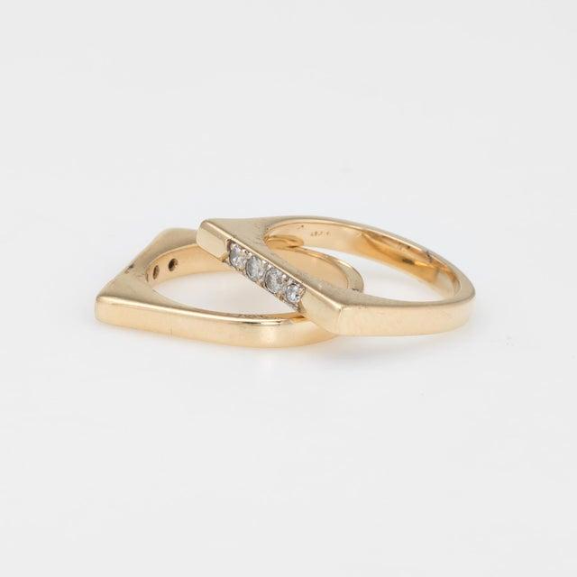 Vintage Set of 2 Stacking Rings Diamond 14 Karat Yellow Gold Bridge Square For Sale - Image 4 of 7