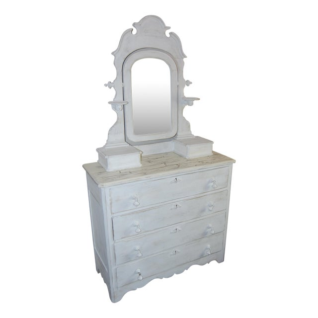 Vintage Shabby Chic White Dresser With Mirror - Image 1 of 11