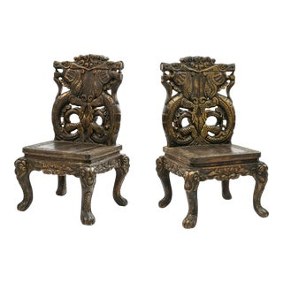 20th Century Chinese Carved Side Chairs With Dragon Design - a Pair For Sale