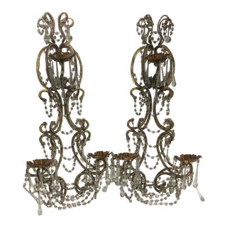 Hollywood Regency French Style Candle Wall Sconces - a Pair For Sale