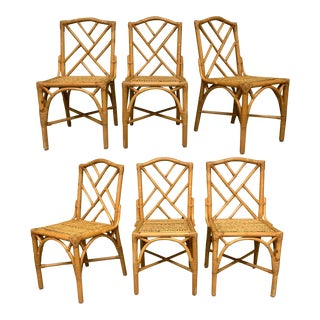 Rattan Chinese Chippendale Dining Chairs, Set of 6 For Sale