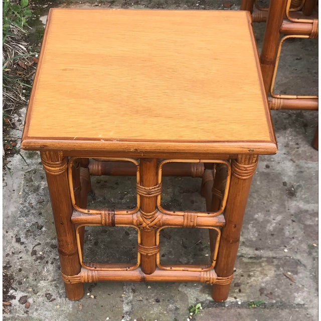 1960s Mid-Century Modern Rattan Nesting Tables - Set of 3 For Sale - Image 11 of 13