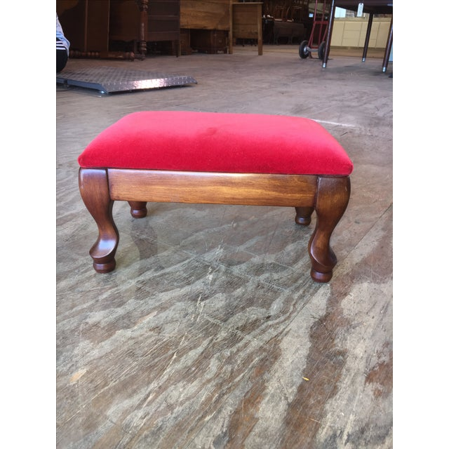 Vintage Red Upholstered Foot Stool - Image 2 of 8