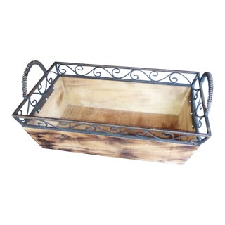 Rustic Wood & Wrought Iron Crate For Sale
