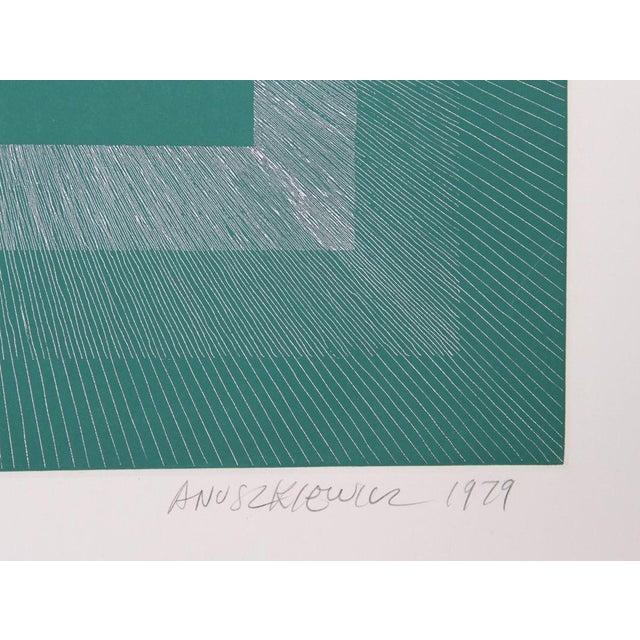 Artist: Richard Anuszkiewicz, American (1930 - ) Title: Winter Suite (Green with Silver) Year: 1979 Medium: Intaglio...