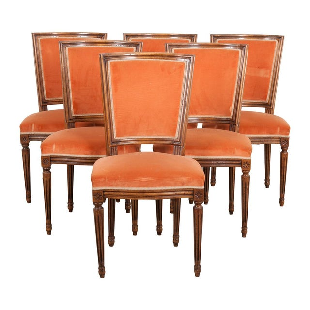 French 19th Century Louis XVI-Style Walnut Sidechairs-Set of 6 For Sale - Image 12 of 12
