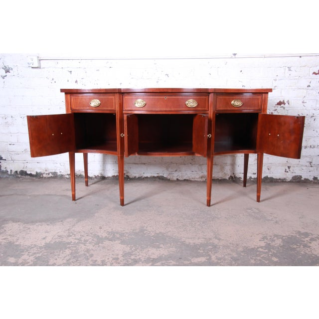 Baker Furniture Hepplewhite Inlaid Mahogany Bow Front Sideboard Credenza For Sale - Image 9 of 13