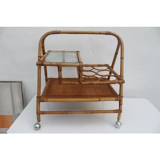 Vintage Small Rolling Wicker & Rattan Tea Cart For Sale - Image 11 of 11
