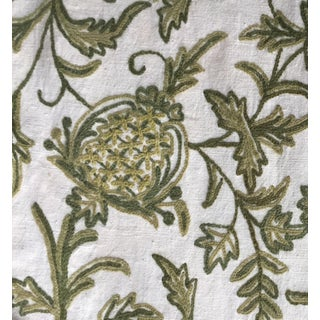 Vintage Crewel Hand-Embroidered Linen Fabric-9.5 Yds