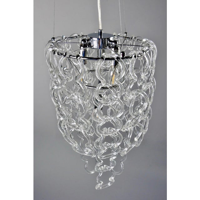 Mid-Century Giogali Glass Link Chandelier by Mangiarotti for Vistosi For Sale In Detroit - Image 6 of 13