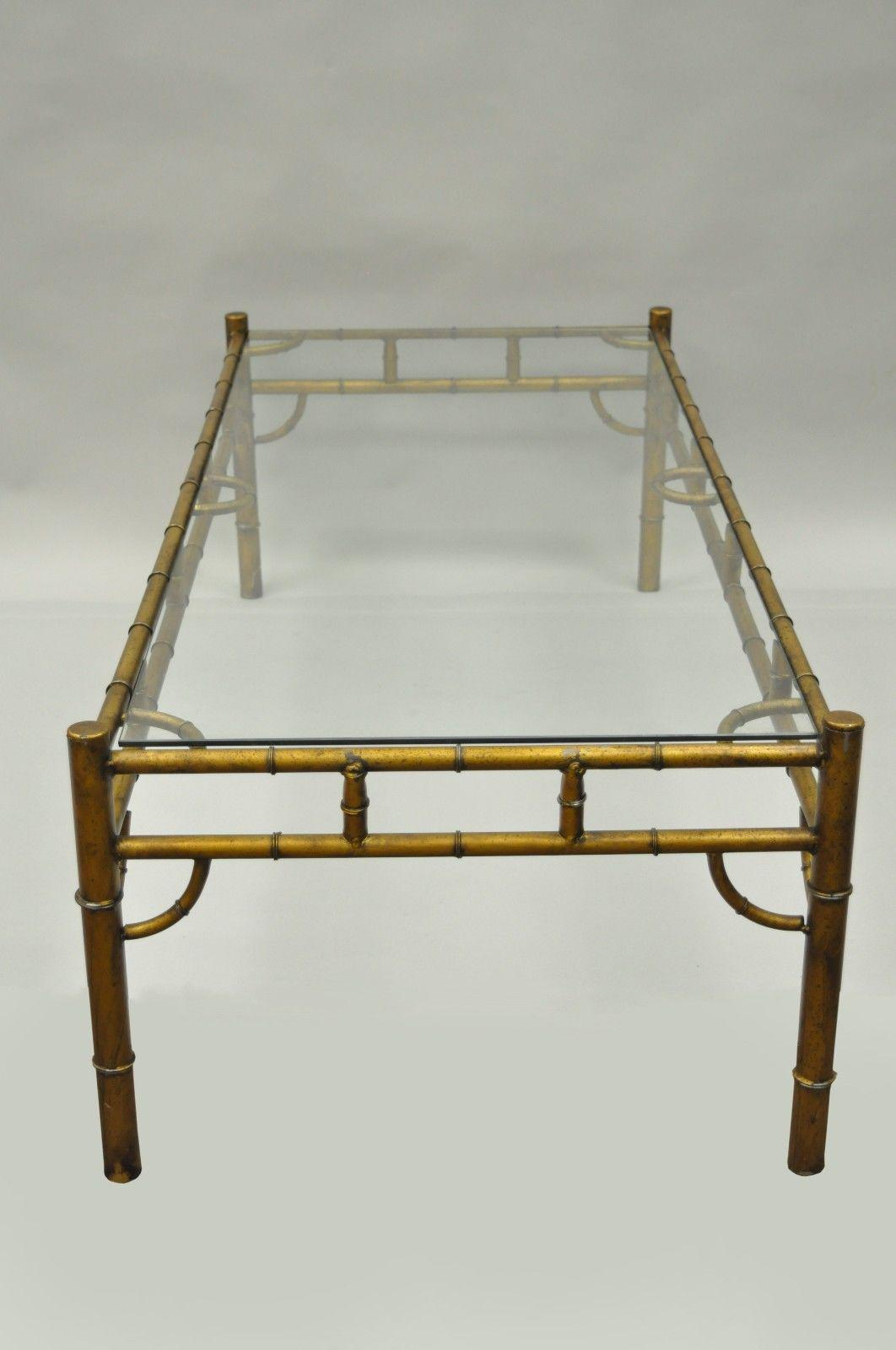 Gold Metal Glass Faux Bamboo Chinese Chippendale Style Coffee Table   Image  5 Of 11