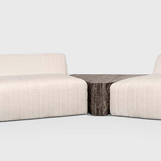 ATRA Oberon Cream and Brass Steel Sofa II Sectional by Atra For Sale - Image 4 of 6