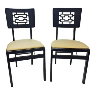 Mid Century Modern Black Wood Folding Chairs by Stakmore - A Pair