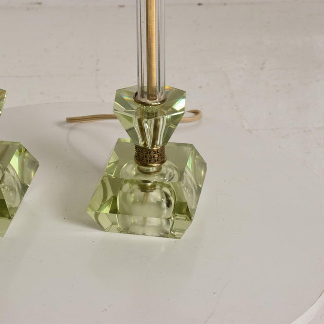 1950s Hollywood Regency Era Crystal Table Lamps With Light Green Color Set of 2 For Sale - Image 5 of 11