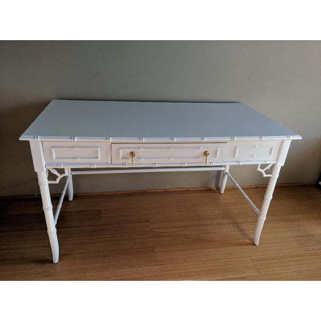 Gold 1970s Hollywood Regency Thomasville Allegro Faux Bamboo White Desk For Sale - Image 8 of 8