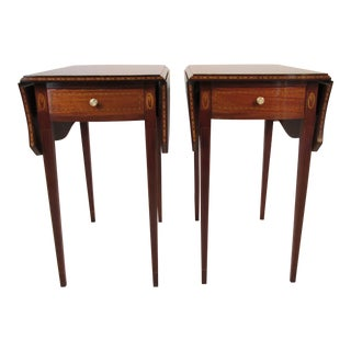 Solid Mahogany Pembroke Tables - A Pair For Sale