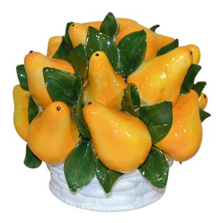 Italian Majolica Pears Centerpiece For Sale