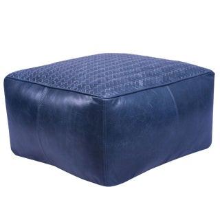 Square Leather Upholstered Woven Floor Cushion in Dark Blue Finish