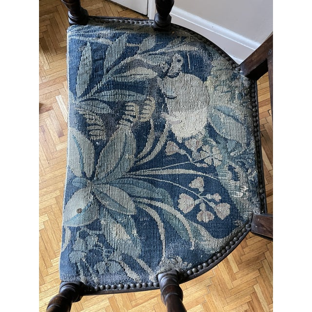 Charles II Revival 19th Century Walnut Arm Chairs With 17th Century Verdure Tapestry Upholstery - a Pair For Sale In Minneapolis - Image 6 of 13