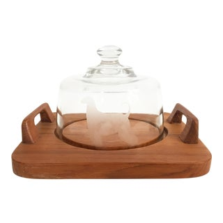 Vintage Serving Cloche With Dog on Teak Base For Sale