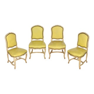 Set of Four Louis XV Style Chairs in Yellow Leather For Sale