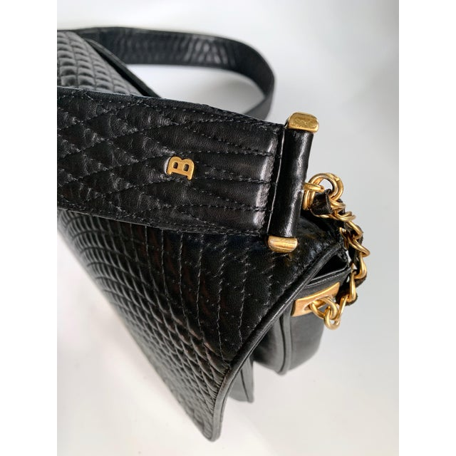 Vintage Bally Handbag Quilted Black Lamb Skin Leather For Sale In Miami - Image 6 of 13