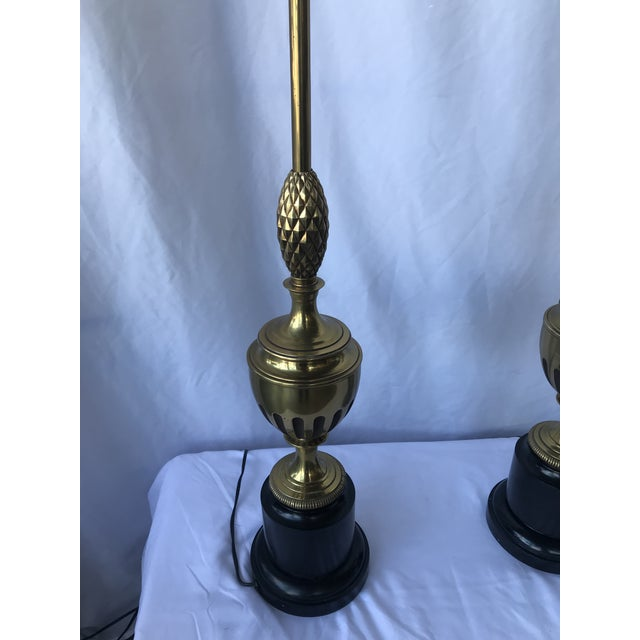 Hollywood Regency 1950s Brass With Center Pineapple Lamps - a Pair For Sale - Image 3 of 6