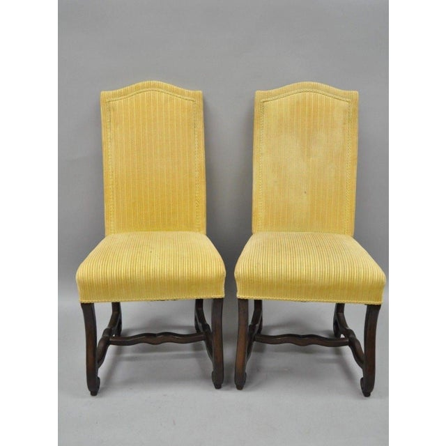 French Early 20th Century Walnut Os De Mouton Louis XIV French Style Upholstered Dining Chairs- Set of 10 For Sale - Image 3 of 12