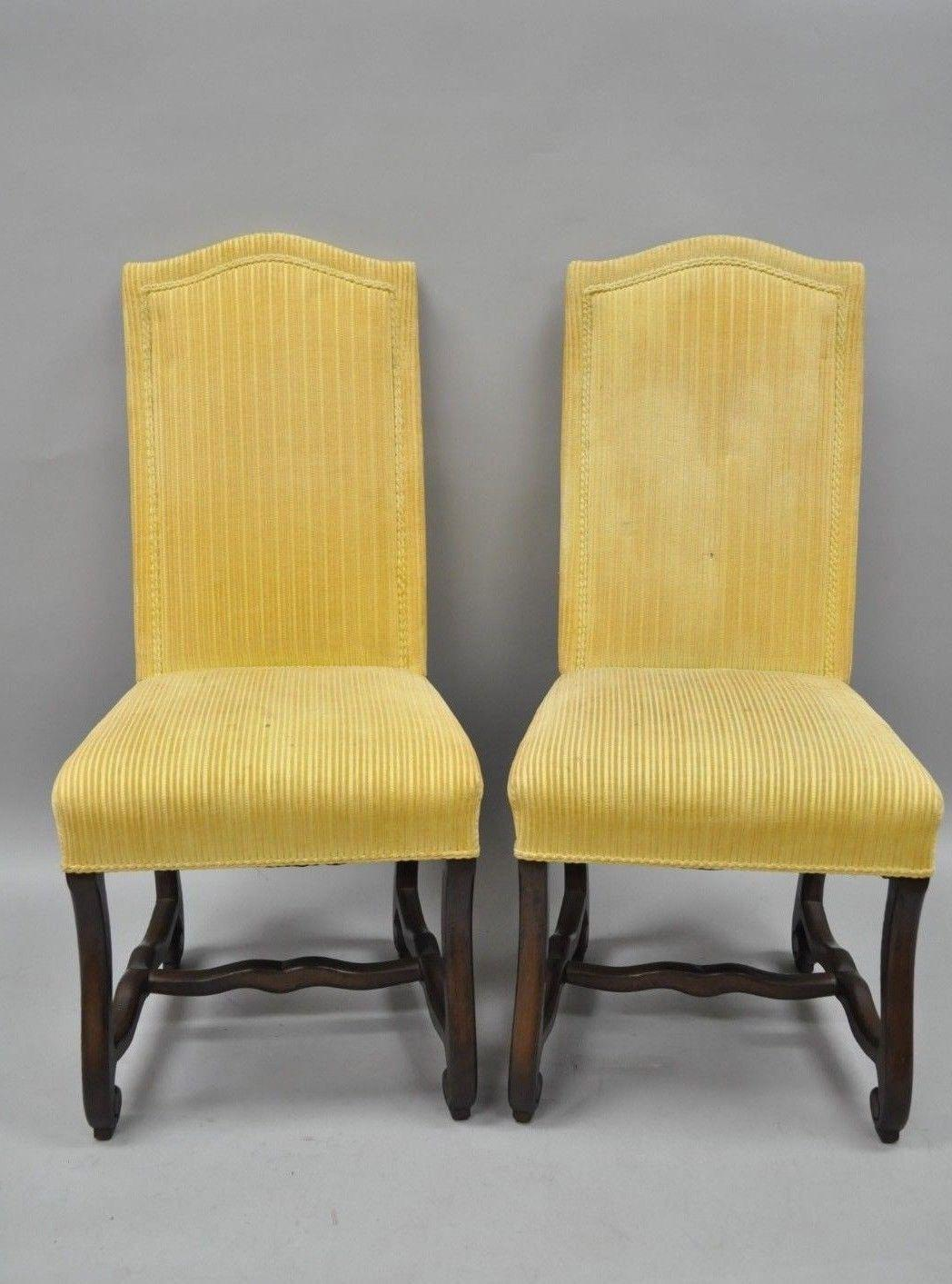 French Early 20th Century Walnut Os De Mouton Louis XIV French Style  Upholstered Dining Chairs