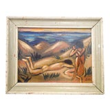 Image of Portrait of Nude Male and Female Oil Painting For Sale