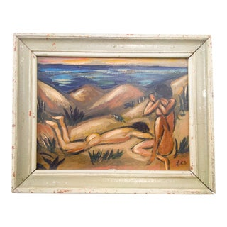 Portrait of Nude Male and Female Oil Painting For Sale