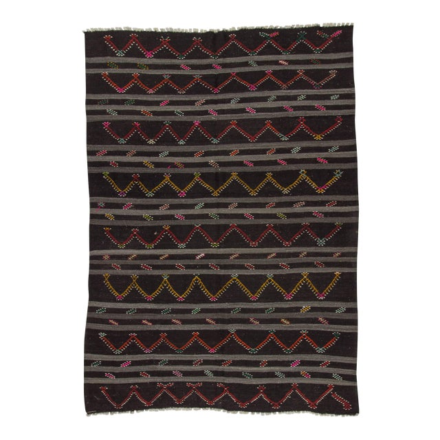 Vintage Embroidered Black & Grey Striped Goat Hair Kilim Rug - 8′3″ × 11′9″ For Sale