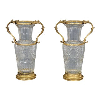 Pair of Baccarat Handblown Crystal Vases w/ Wheel Cut Engraving and Bronze Mo For Sale