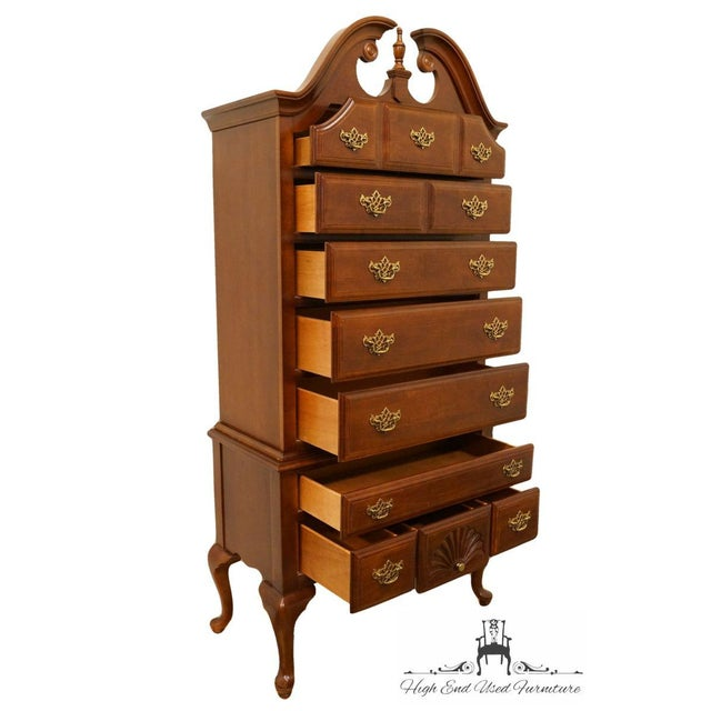 Late 20th Century 20th Century French Stanley Furniture Cherry Pediment-Top Highboy Chest For Sale - Image 5 of 13