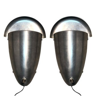 Antique Atomic Art Deco Stainless Steel Wall Sconces - a Pair For Sale