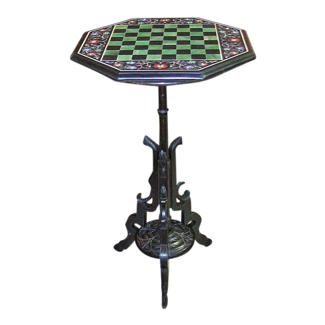 Pietra Dura Chess Board Marble Table For Sale