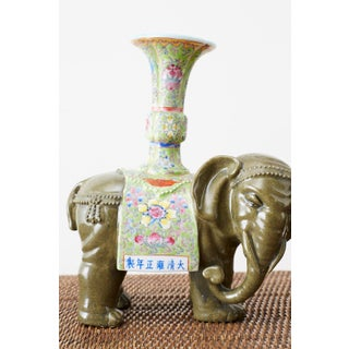Pair of Chinese Jade Colored Porcelain Elephant Candlesticks Preview