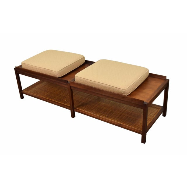 Mid-Century Modern 1960s Mid-Century Modern Coffee Table Bench Caned Shelf For Sale - Image 3 of 6