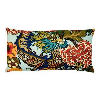 Schumacher Chiang Mai Dragon Lumbar Pillow in Aquamarine For Sale
