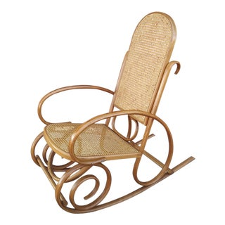 1970's Vintage Thonet Style Bentwood & Cane Rocker For Sale
