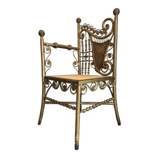 Heywood-Wakefield Antique Gold Wicker Corner Chair