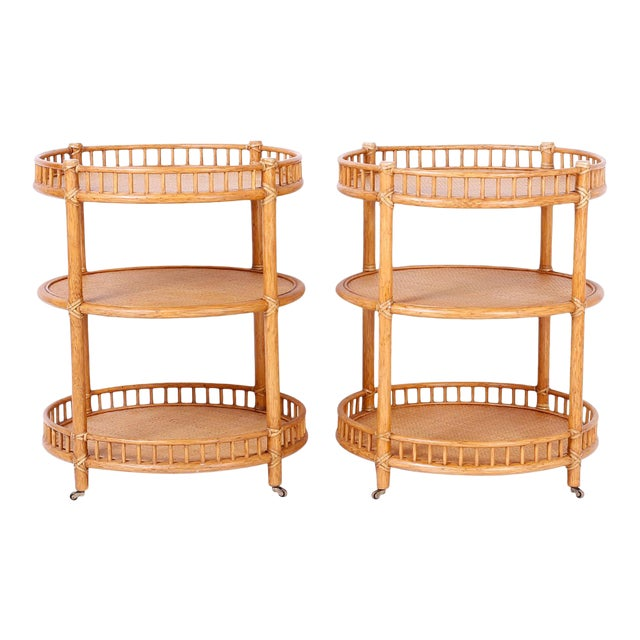 Midcentury British Colonial Style Stands or Carts - A Pair For Sale