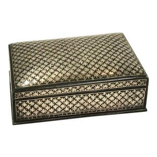 19th Century Bidri Indian Silver Inlaid Into Oxide Metal Vanity Box For Sale