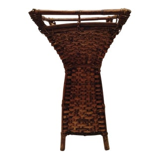 Wicker and Bamboo Walking Cane Basket